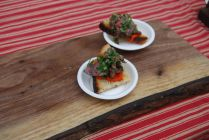 Chargrilled beef heart & preserved lemon relish on house bread
