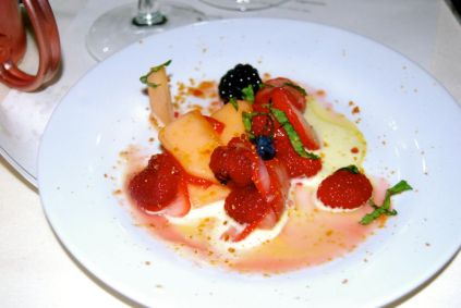 Seasonal fruit zabaglione